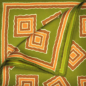 Olive & Chestnut Big Medallion English Silk Pocket Square