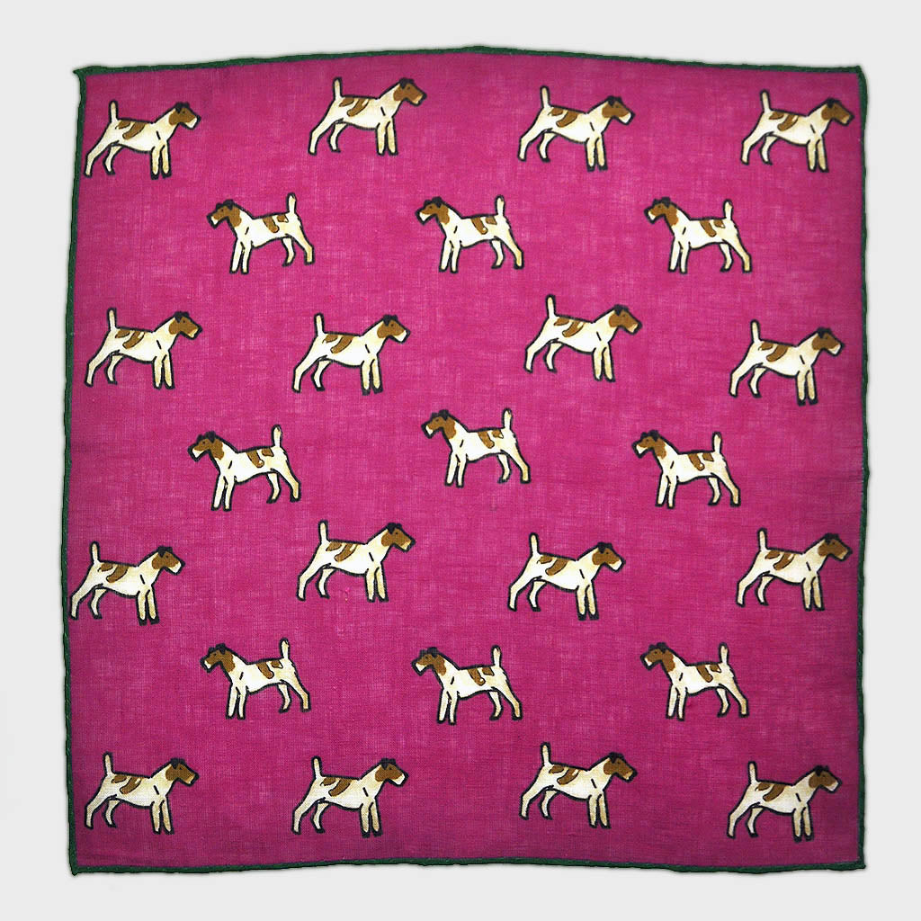 Little Terrier Linen Pocket Square in Magenta