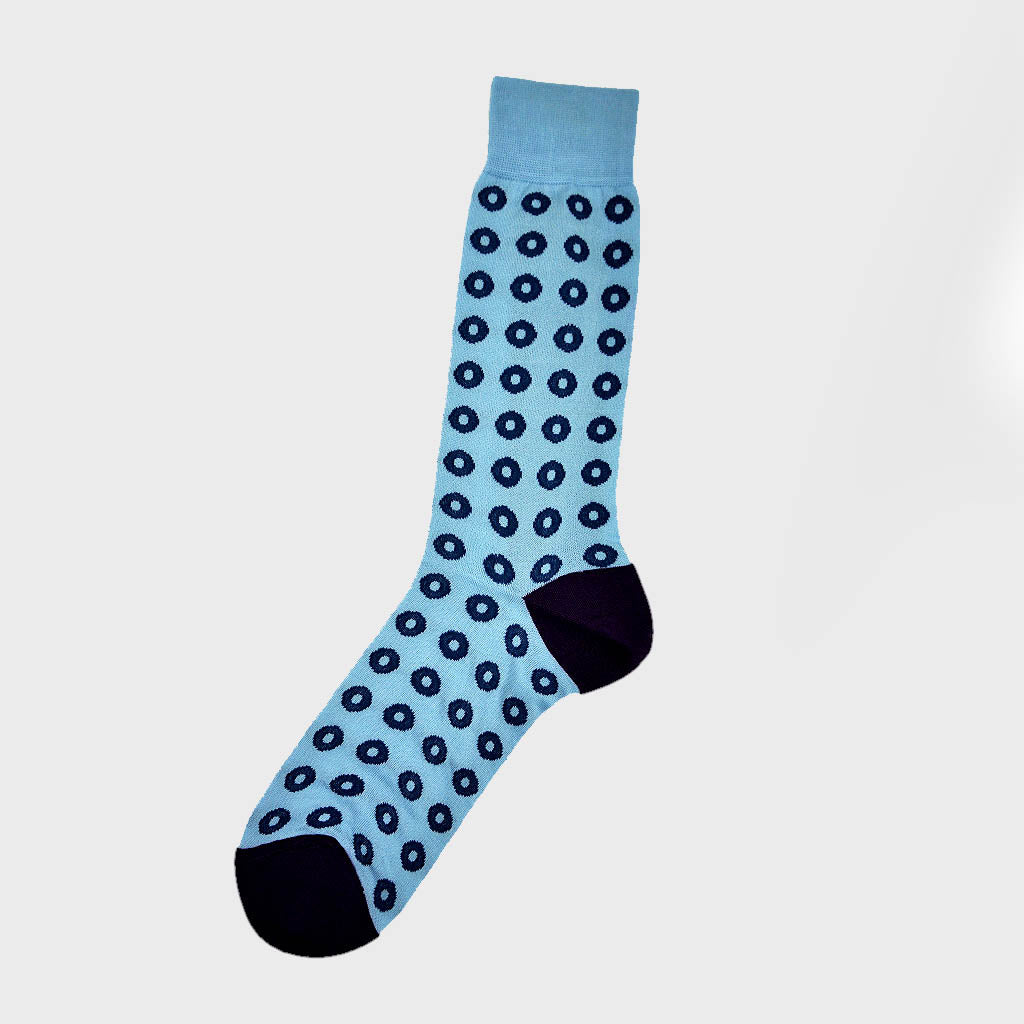 Hoops Fine Cotton Socks in Light Blue