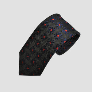 English Woven Silk Geo Squares Tie in Brown, Navy & Red