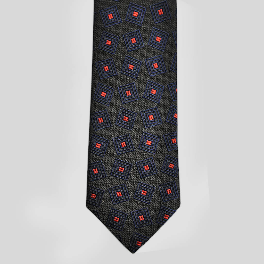 English Woven Silk Geo Squares Tie