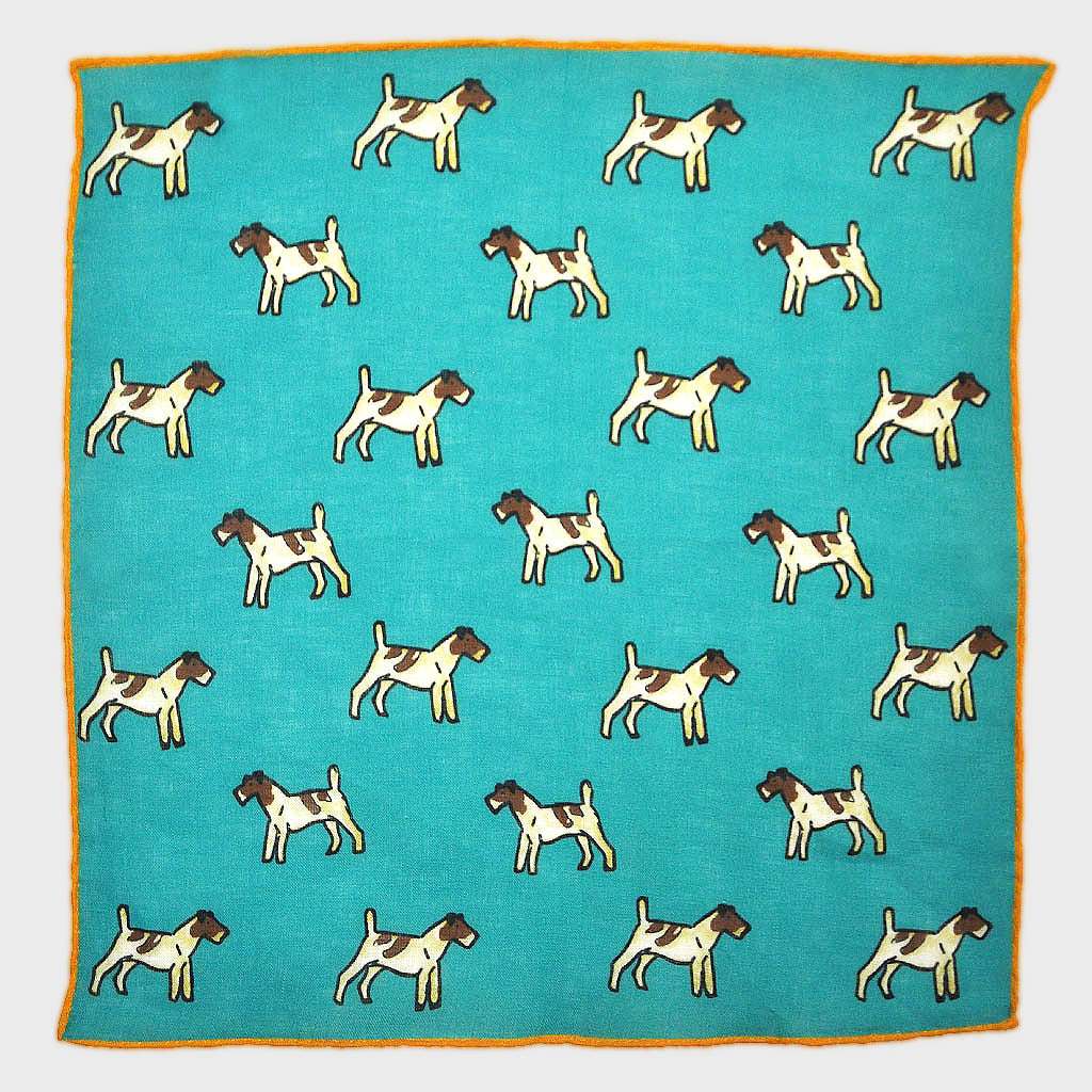 Little Terrier Linen Pocket Square in Teal