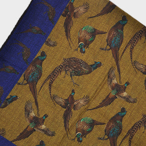 Wool Silk Pheasant Large Square in Blue & Ochre