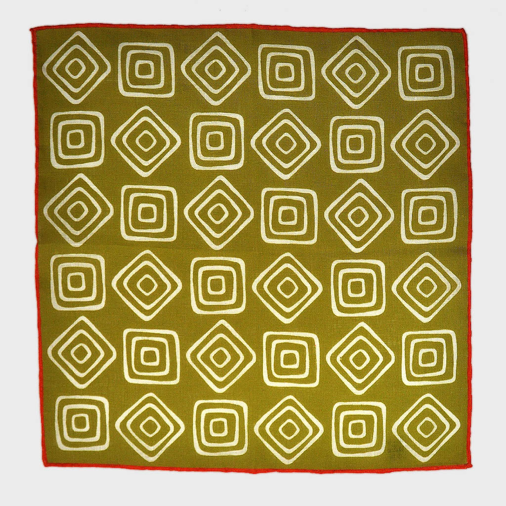 The Groovy Square Linen Pocket Square in Olive