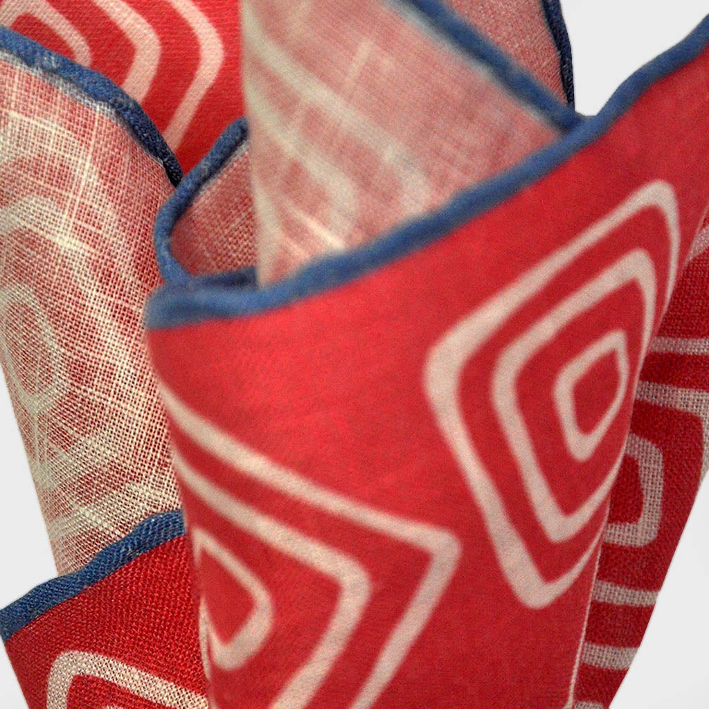 The Groovy Square Linen Pocket Square in Red