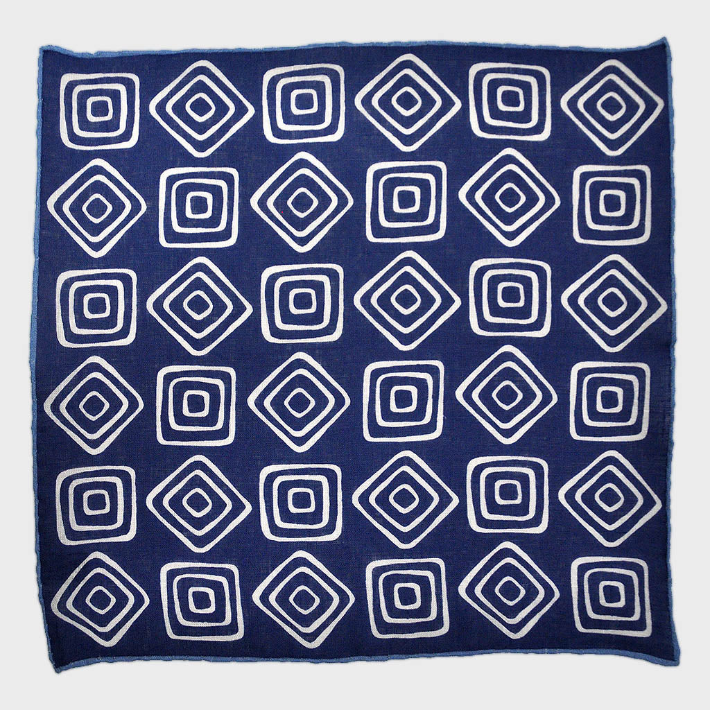 The Groovy Square Linen Pocket Square in Blue