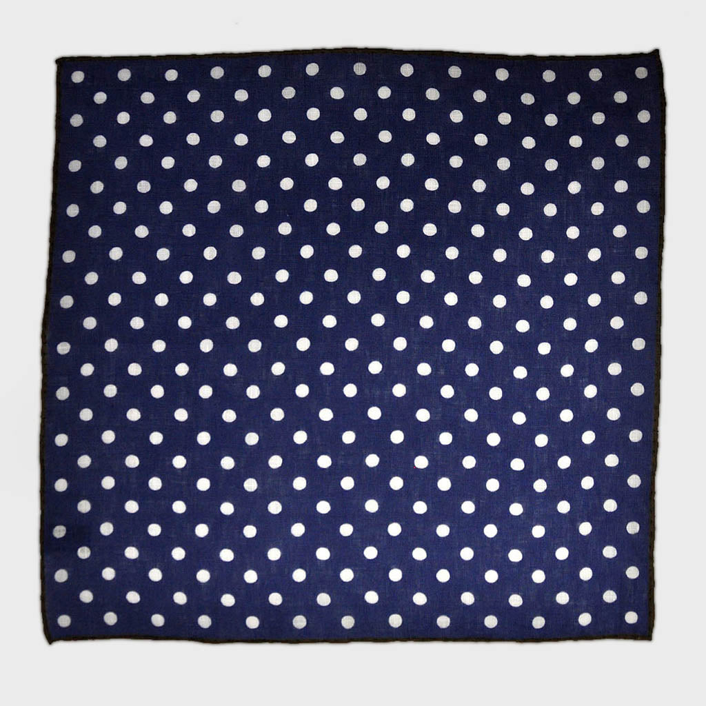 Classic Polka Dot Linen Pocket Square in Navy & White