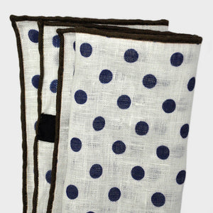 Classic Polka Dot Linen Pocket Square in White & Navy