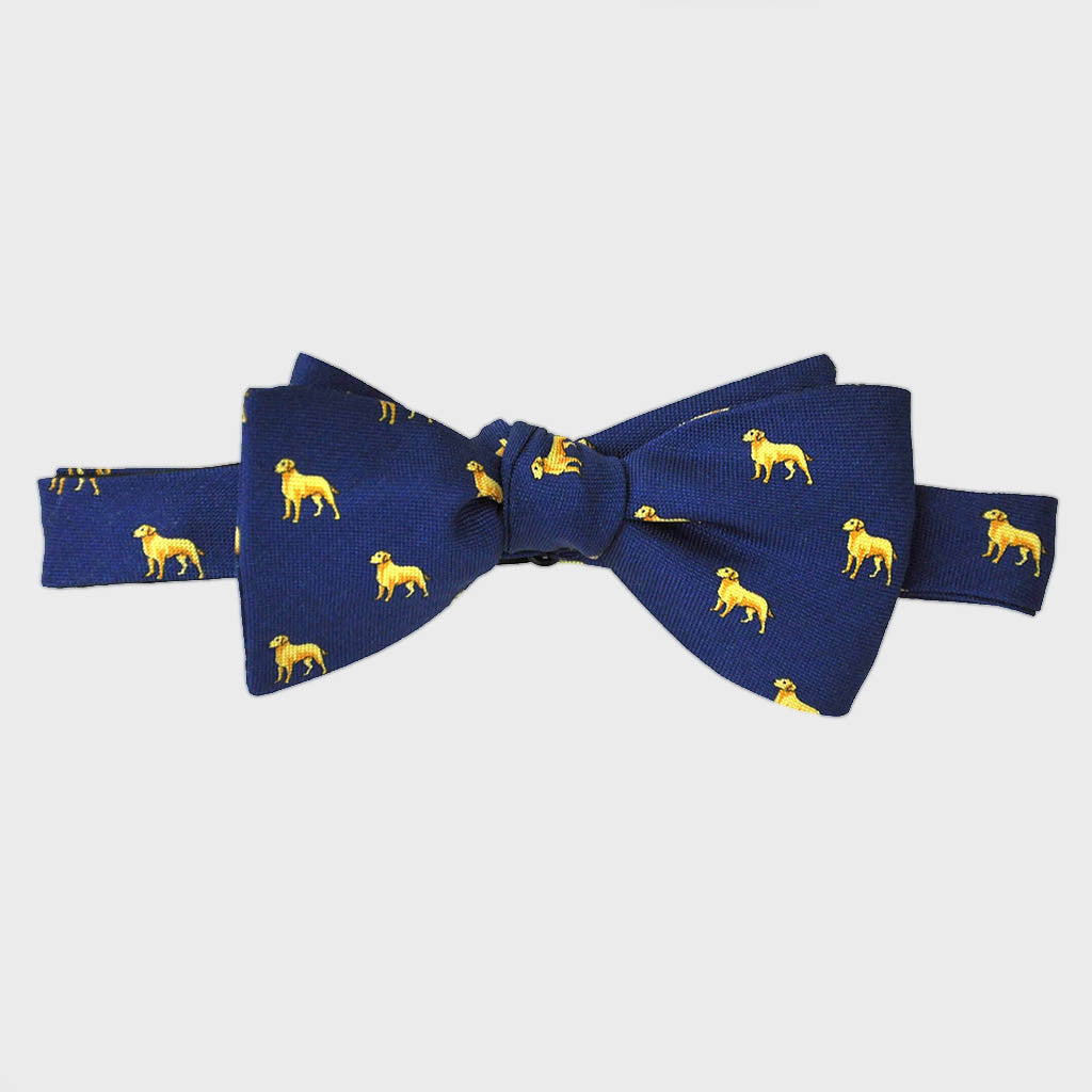 English Woven Silk 'Golden Labrador' Bow Tie