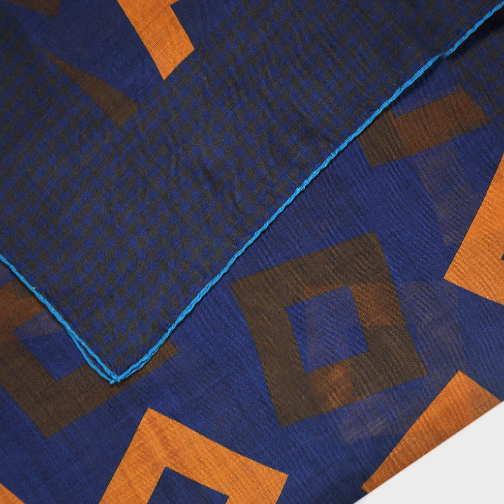 Wool Silk Geo's with Houndstooth Border Large Square in Blue & Brown