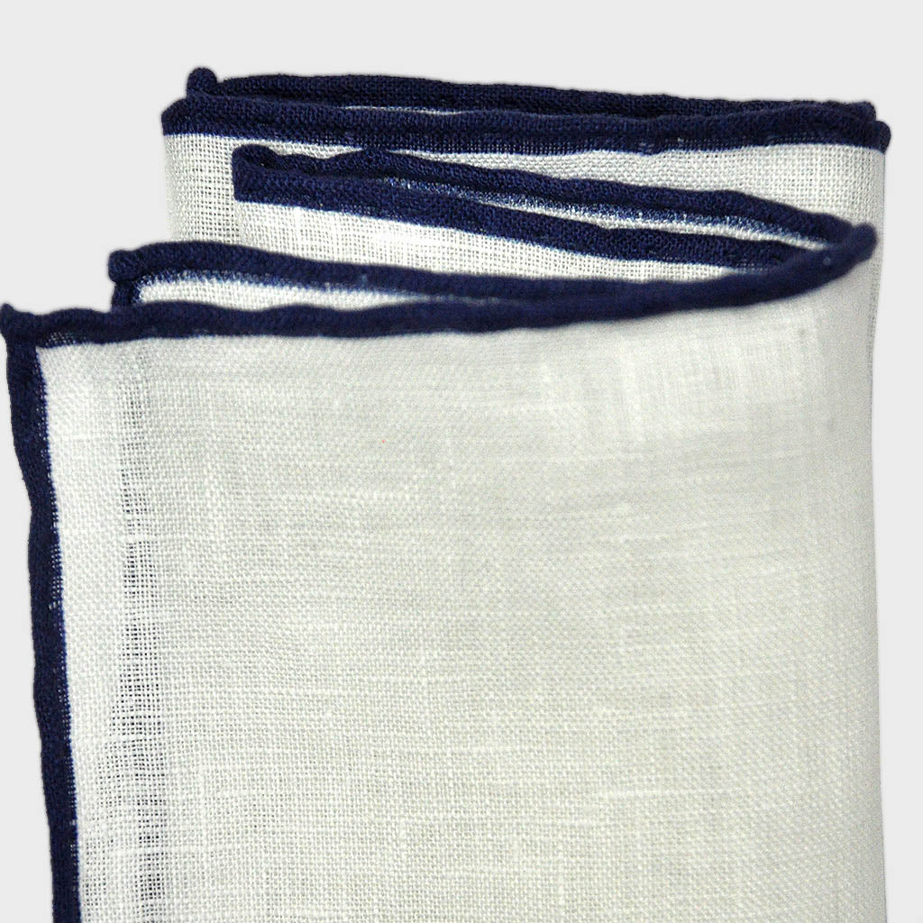 White Linen Pocket Square with Navy Piping