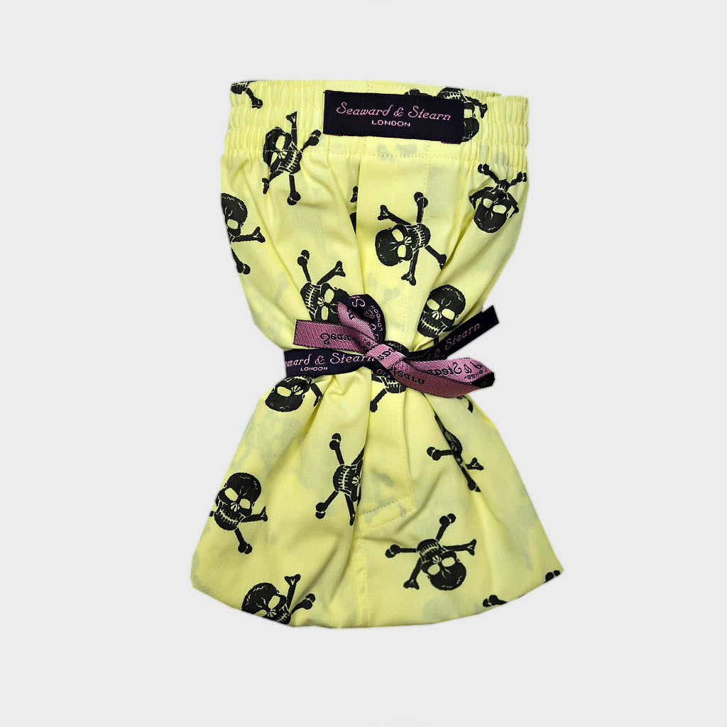 Skull & Cross Bones Cotton Boxer Short in Yellow