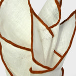 White Linen Pocket Square with Brown Piping