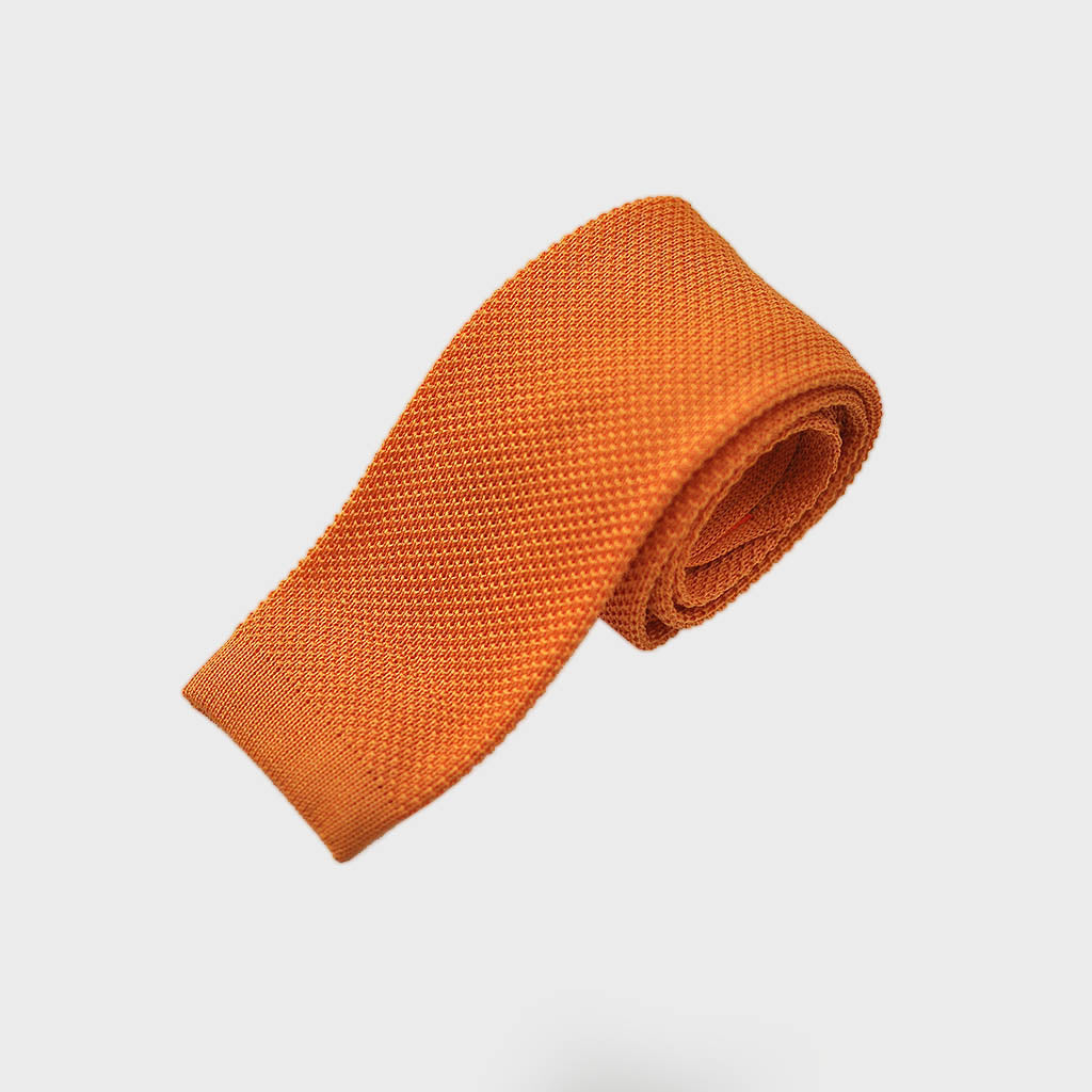 Cotton Knitted Tie in Sunset Orange