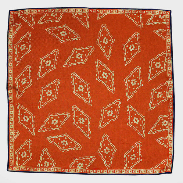 Orange Florets & Geo's Reversible Panama Silk Pocket Square