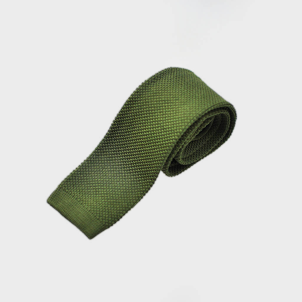 Cotton Knitted Tie in Olive Green