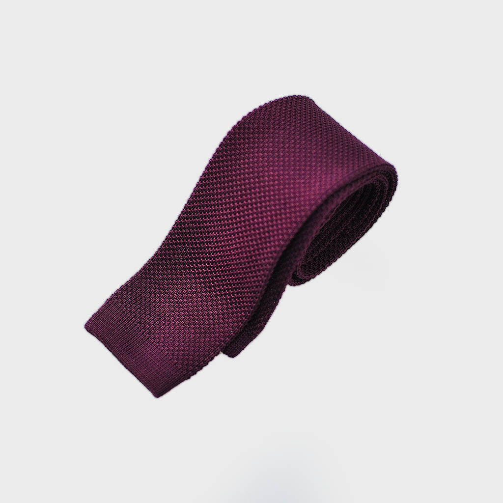 Cotton Knitted Tie in Burgundy