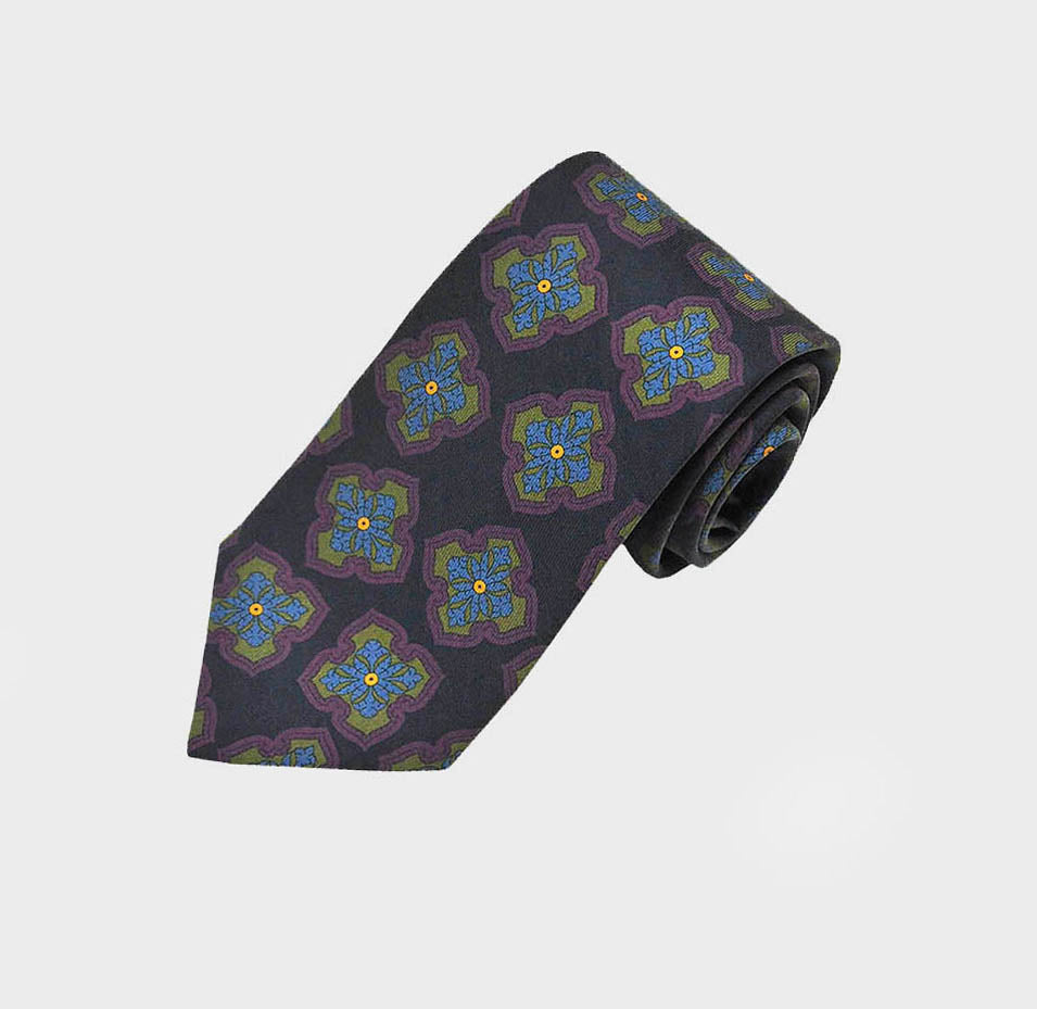 Mellow Florets Silk Tie in Blue