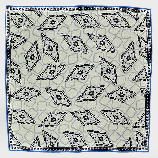 Florets & Geo's White Reversible Panama Silk Pocket Square