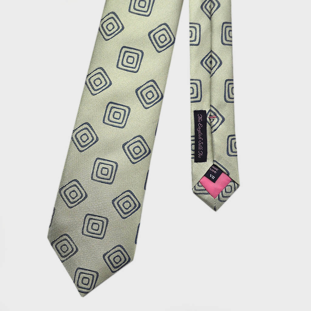 Squares in Square Woven Silk Tie in Blue & Grey