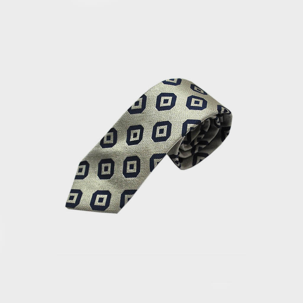 Diamond like Squares Natte Silk Tie in Blue & Grey
