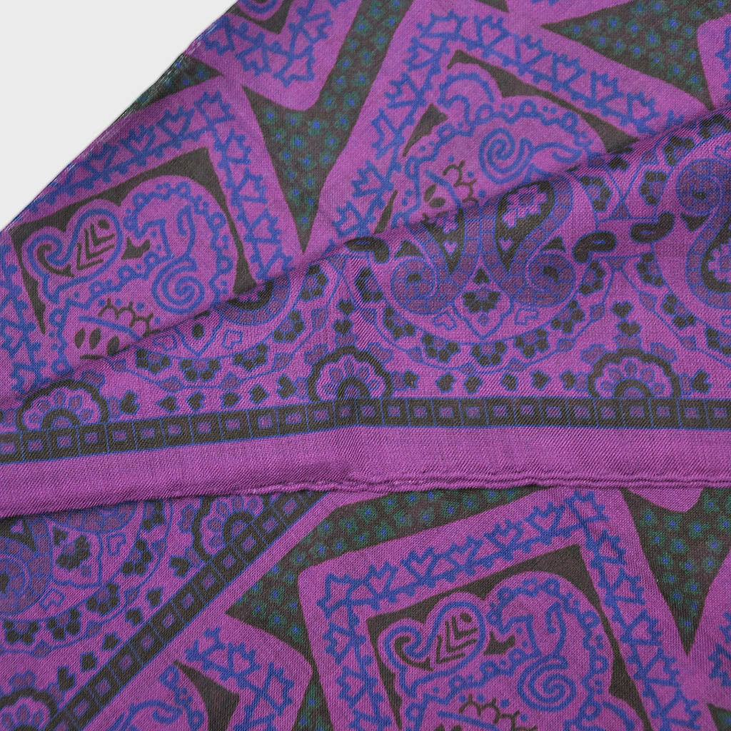 Wool Silk Medallions & Teardrops Large Square in Purple