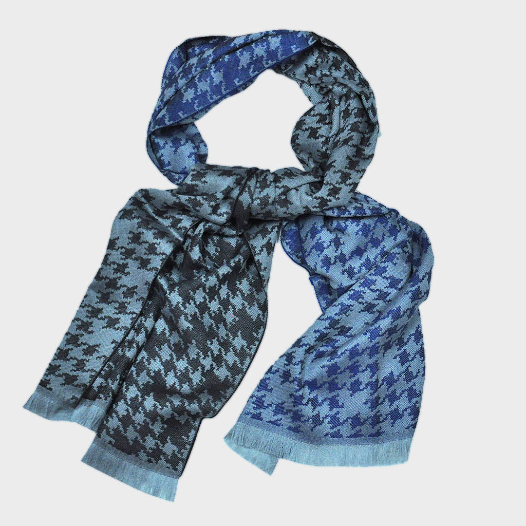 Houndstooth Wool Scarf in Browns & Blues