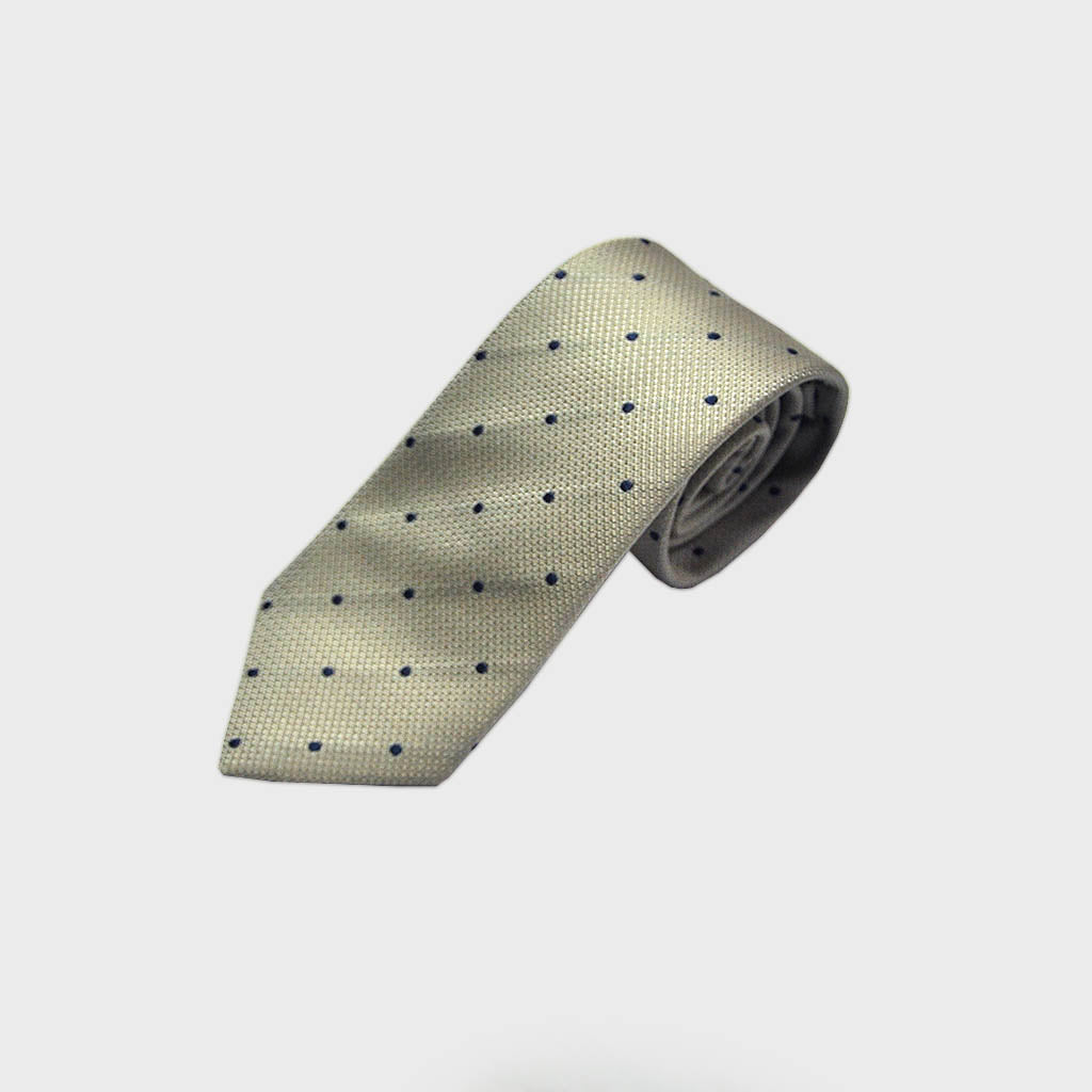 Classic Dots Natte Silk Tie in Blue & Grey
