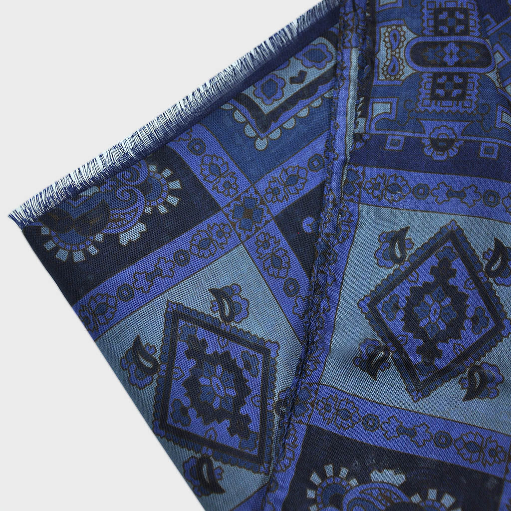 Wool Silk Mosaic of Medallions Scarf in Blues