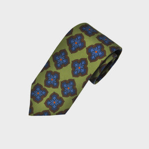 Mellow Florets Silk Tie in Lime