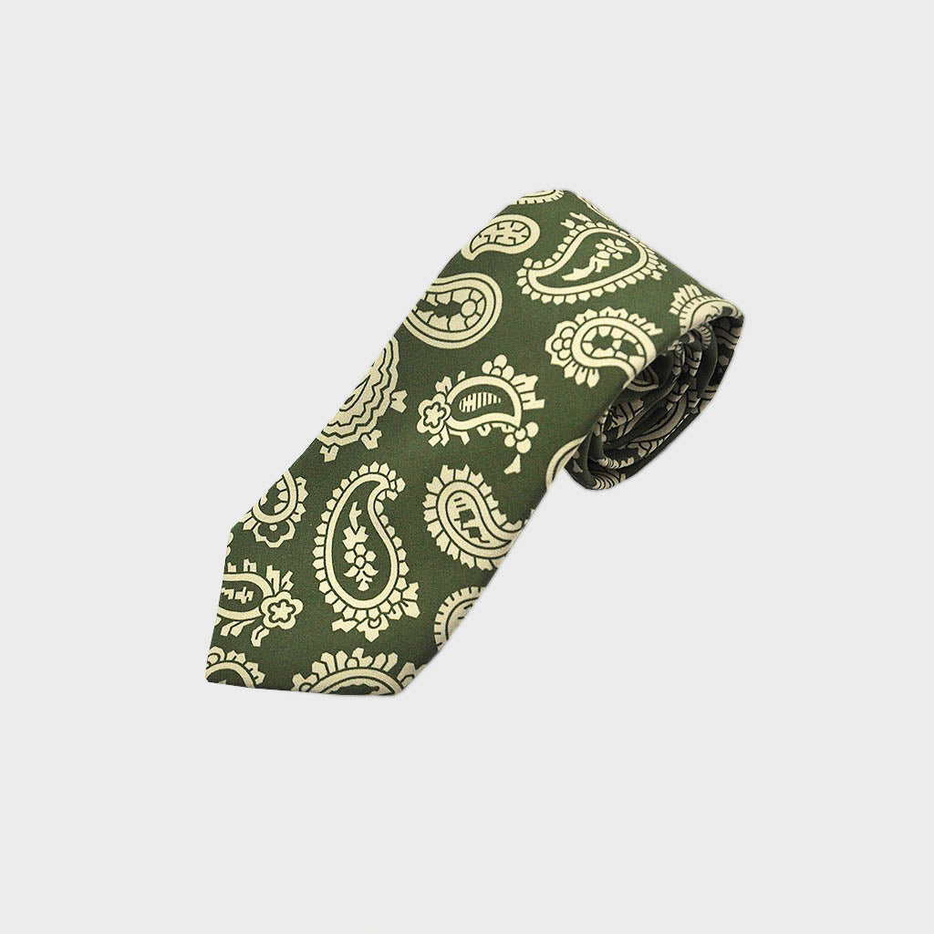 The Funky Buteh Silk Tie in Green & White
