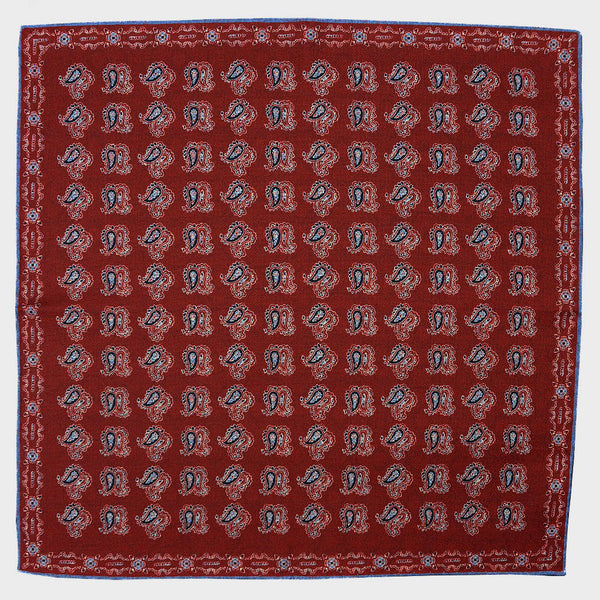 Burgundy Paisley & Floret Reversible Panama Silk Pocket Square