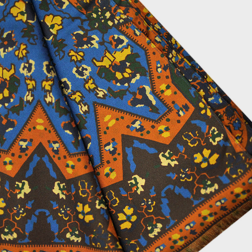 Big & Bold Flowers & Shapes Reversible Silk Scarf in Browns, Blue & Ochre