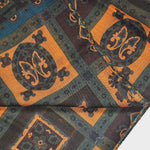 Wool Silk Mosaic of Medallions Scarf in Earthy Autumnal Colours