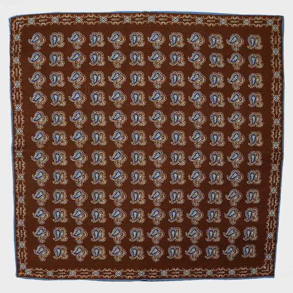 Brown Paisley & Floret Reversible Panama Silk Pocket Square