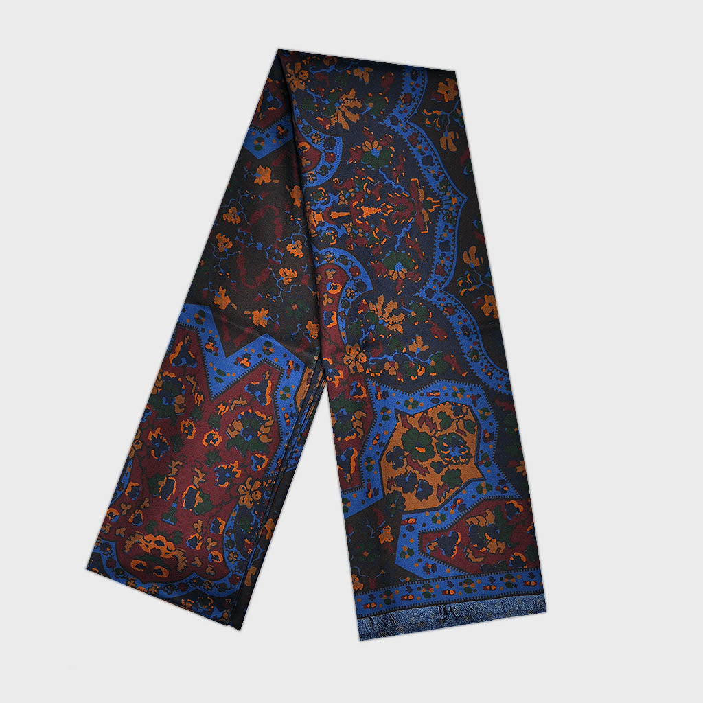 Big & Bold Flowers & Shapes Reversible Silk Scarf in Rusty Brown, Blue & Brown