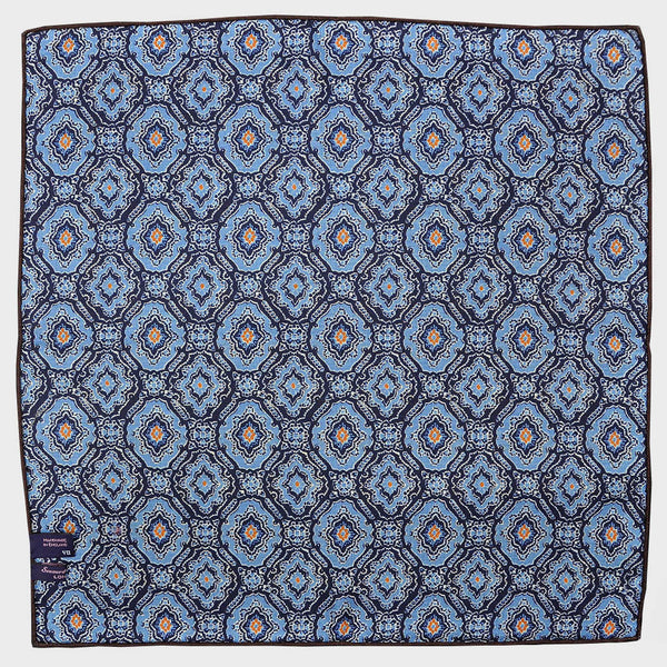 Blue Paisley & Floret Reversible Panama Silk Pocket Square