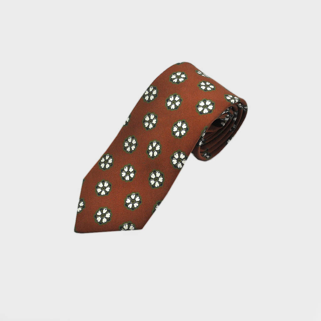 Lovely Little Floret Silk Tie in Rusty Brown & Olive