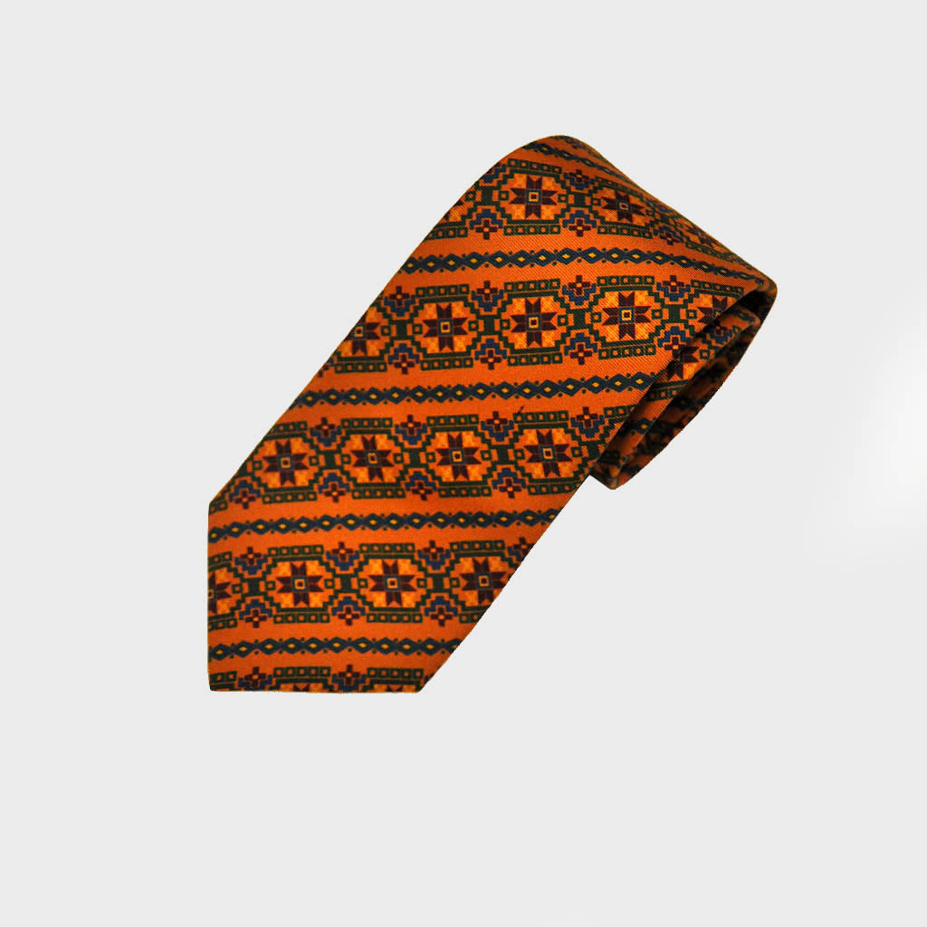 Groovy Aztec Silk Tie in Orange