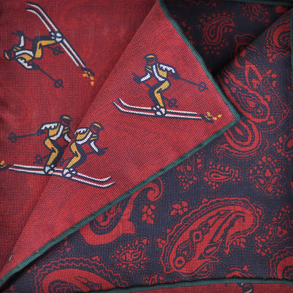 Reversible Skier & Paisley Panama Silk Pocket Square in Red & Navy