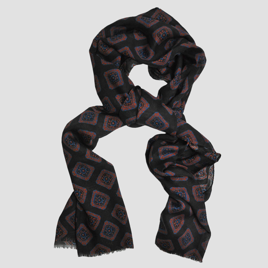 Wool Silk Floret Scarf in Brown