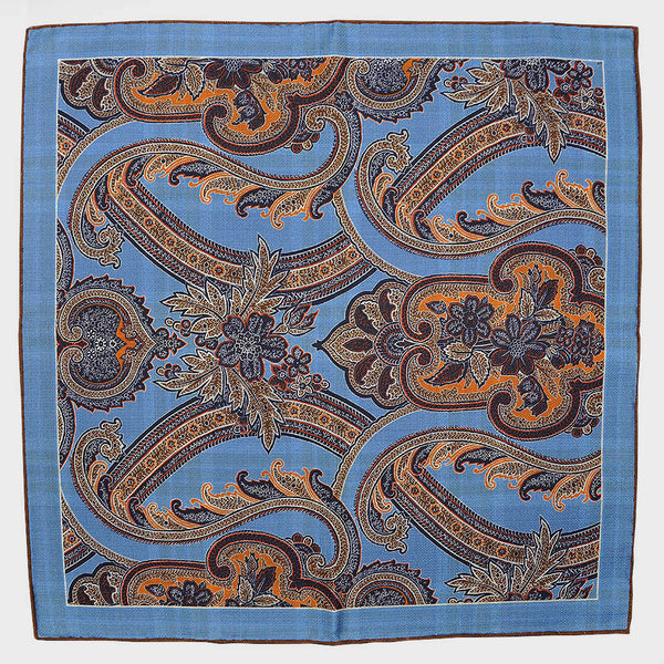 Blue Paisley & Plaid Reversible Panama Silk Pocket Square