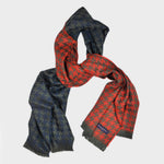 Houndstooth Super Fine Wool Scarf in Panels of Blue, Grey, Olive & Orange