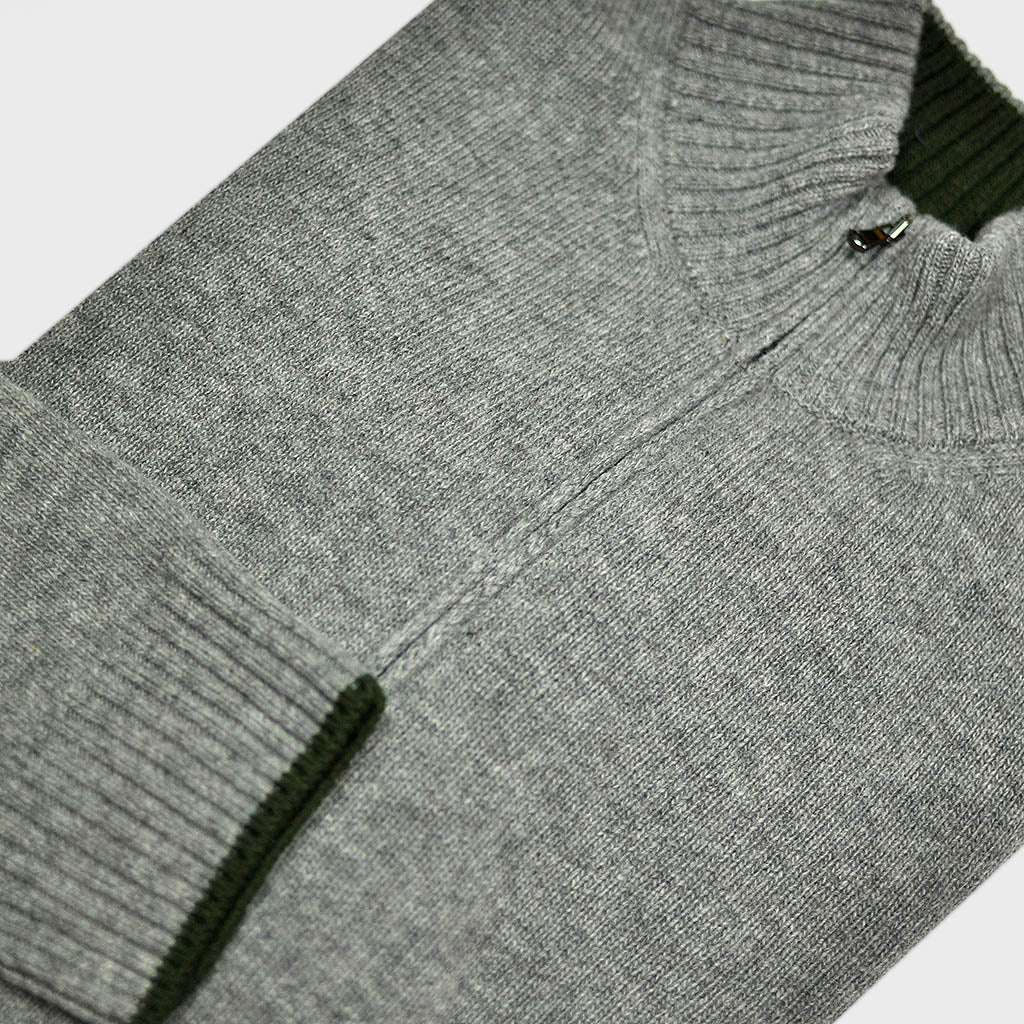 Merino Wool Zip Collar Jumper Grey with Green Trim