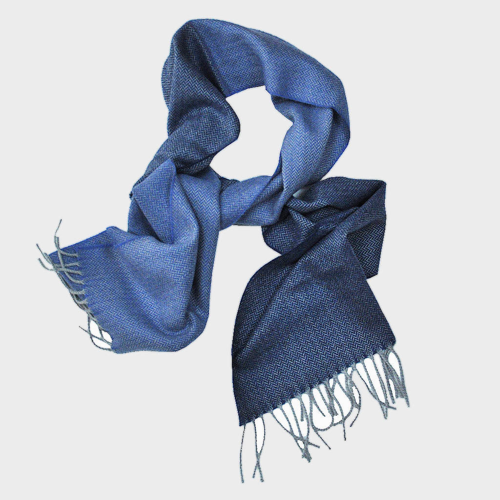 Herring Bone Wool Scarf in Shades of Blue
