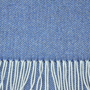 Herring Bone Wool Scarf in Blue & Brown