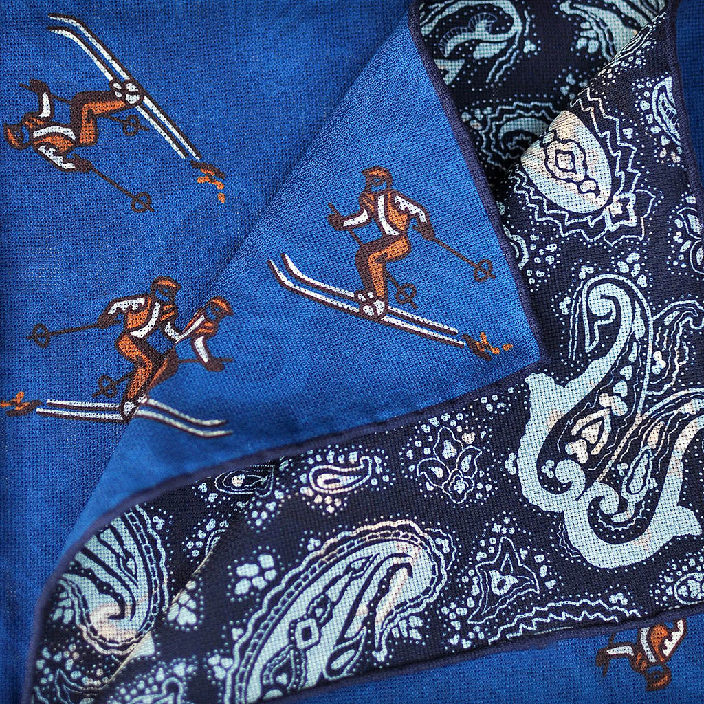 Reversible Skier & Paisley Panama Silk Pocket Square in Royal Blue