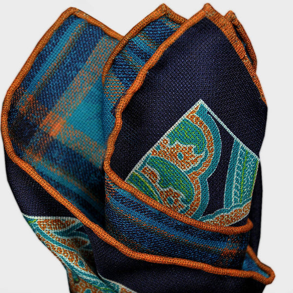 Navy Paisley & Plaid Reversible Panama Silk Pocket Square