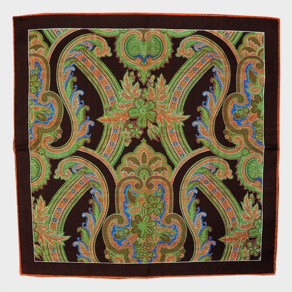 Brown Paisley & Plaid Reversible Panama Silk Pocket Square