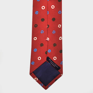 Little Round Shapes Silk Tie in Burgundy